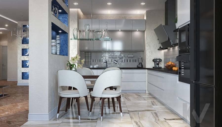 дизайн кухни в 3-комнатной квартире 100 кв.м., Реутов - 1