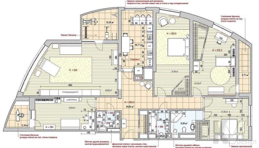 Декорирование квартиры в ЖК Квартал, планировка