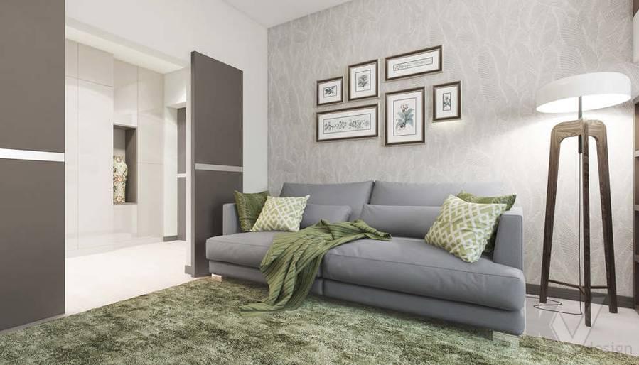 Дизайн гостиной в 3-комнатной квартире П-3М, Новое Ясенево - 1